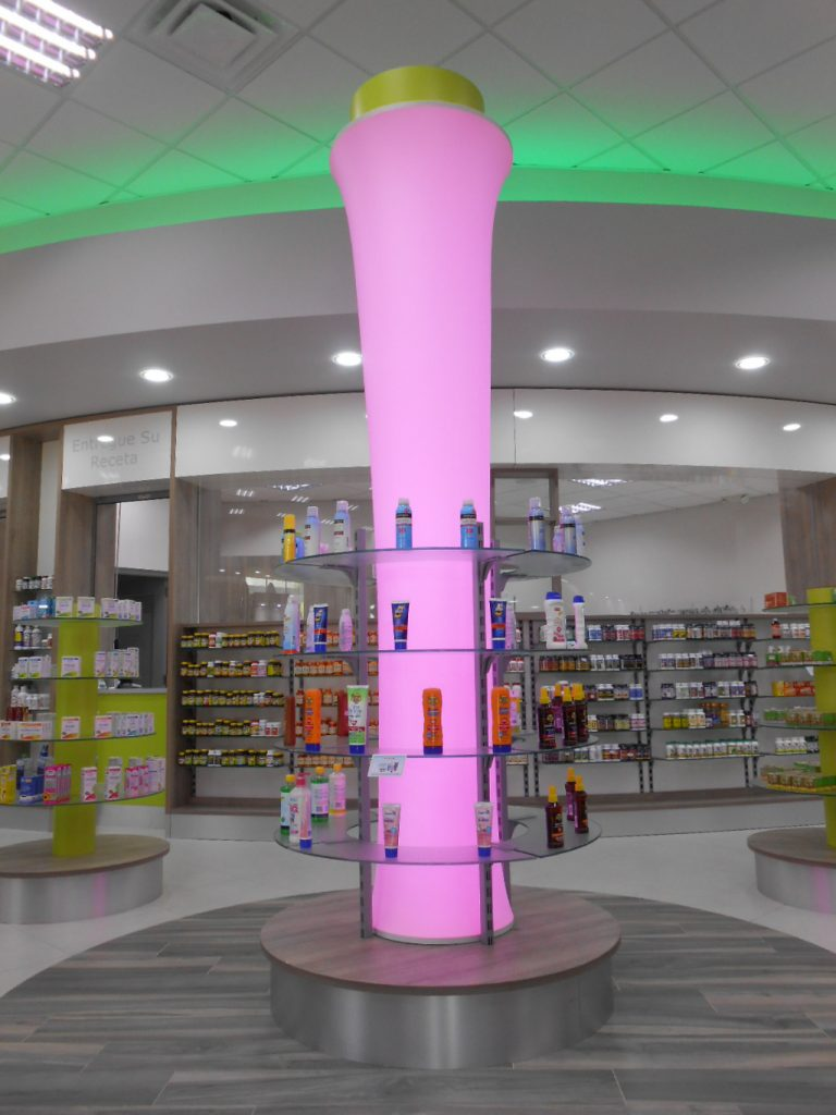 Column with color changing LED, Pharmacia Las Colinas, Apotheke bei AT Design Team