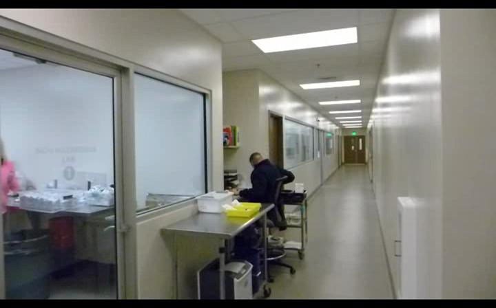 Professionelle Arbeitsabläufe in verschiedenen Laborräumen sind vom Verkaufsraum aus einsehbar.