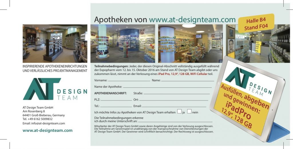 Flyer Verlosung, Firma AT Design Team