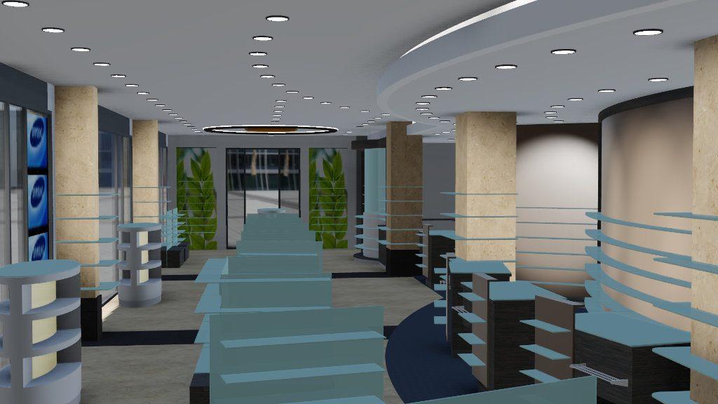 3D Darstellung einer Apotheke, Sichtwahl, Freiwahl, HV Tische und Gondeln. Firma AT Design Team.
